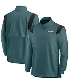 Men's Midnight Green Philadelphia Eagles 2021 Sideline Coaches Repel Quarter-Zip Jacket
