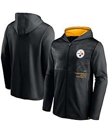 Men's Black Pittsburgh Steelers Defender Full-Zip Hoodie Jacket