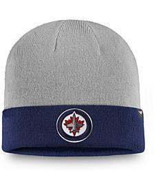 Men's Gray, Navy Winnipeg Jets Two-Tone Cuffed Knit Hat