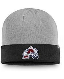 Men's Gray, Black Colorado Avalanche Two-Tone Cuffed Knit Hat