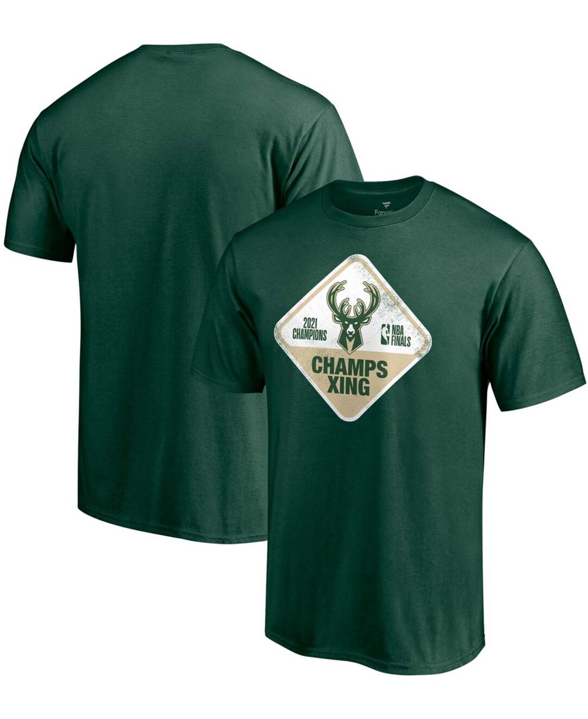 Men's Hunter Green Milwaukee Bucks 2021 Nba Finals Champions Hometown Collection Champs Xing T-shirt