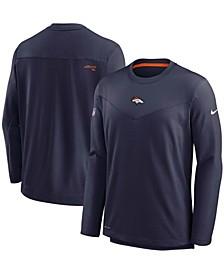 Men's Navy Denver Broncos Sideline Team Performance Pullover Sweatshirt