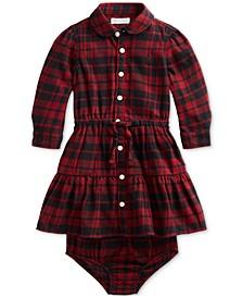 Baby Girls Plaid Cotton Twill Shirtdress & Bloomer