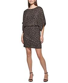 Dolman-Sleeve Blouson Sheath Dress