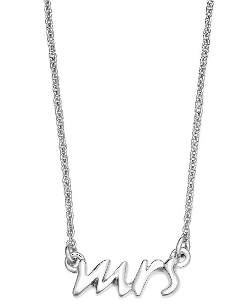 kate spade new york Necklace, Silver Tone Say Yes Mrs. Pendant Necklace