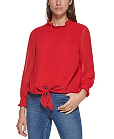 Ruffle Neck Tie Front Blouse