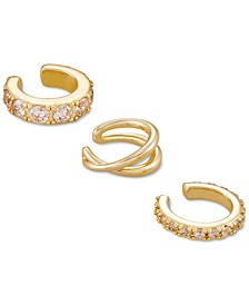 3-Pc. Set Cubic Zirconia & Crisscross Ear Cuffs