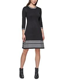 Printed-Trim Sweater Dress