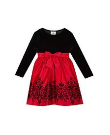 Toddler Girls Velvet Bodice to Flocking Satin Skirt