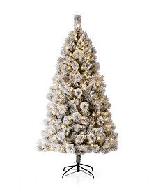 Pre-Lit Flocked Pencil Pine Artificial Christmas Tree with 300 Warm White Lights, 6'