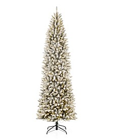 Pre-Lit Flocked Pencil Fir Artificial Christmas Tree with 600 Warm White Lights, 9'