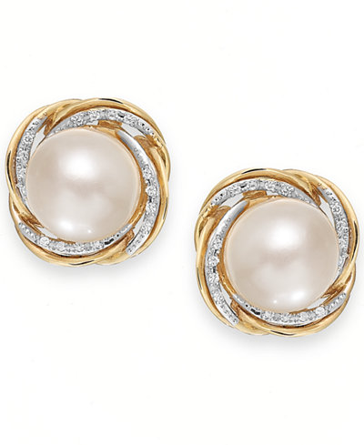 Cultured Freshwater Pearl (9mm) and Diamond (1/10 ct. t.w.) Knot Stud earrings in 14k Gold