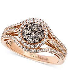Chocolate and White Diamond Circle Cluster Ring in 14k Rose Gold (7/8 ct. t.w.)
