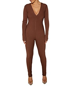 The NW Ribbed V-Neck Jumpsuit