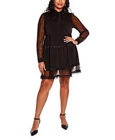 Black Label Plus Size Lace Tie-Neck Dress