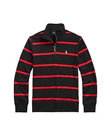 Big Boys Striped Cotton Interlock Quarter-Zip Pullover Top