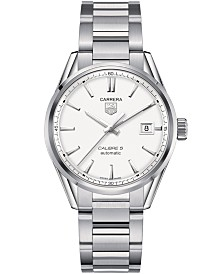 TAG Heuer Men's Swiss Automatic Carrera Calibre 5 Stainless Steel Bracelet Watch 39mm