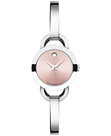 Movado Women's Swiss Rondiro Mini Stainless Steel Bangle Bracelet Watch 22mm 0606797