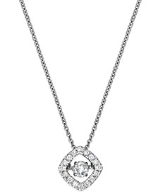 Diamond Square Pendant Necklace in 10k White Gold (1/4 ct. t.w.)