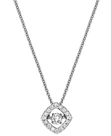 Twinkling Diamond Star™ Diamond Square Pendant Necklace in 10k White Gold (1/4 ct. t.w.)