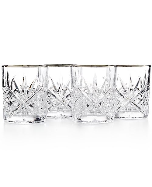 Godinger Dublin Platinum Double Old Fashioned Glasses, Set of 4