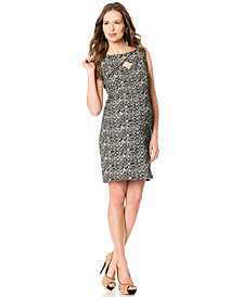 A Pea In The Pod Sleeveless Boat-Neck Geo-Print Maternity Dress