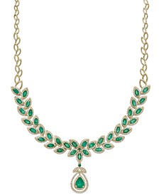 Brasilica by EFFY® Emerald (11-3/4 ct. t.w.) and Diamond (2-3/4 ct. t.w.) Pendant Necklace in 14k Gold, Created for Macy's