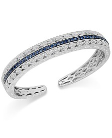 Sapphire (1-5/8 ct. t.w.) and Diamond (1/10 ct. t.w.) Cuff Bracelet in Sterling Silver