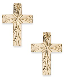 Cross Stud Earrings in 10k Gold