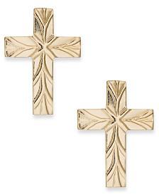 Cross Stud Earrings in 10k Gold