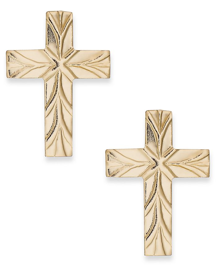 Italian Gold - Cross Stud Earrings in 10k Gold
