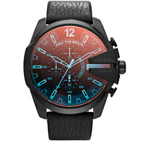 Diesel DZ4323 Mega Chief Black Ip Leather Men's Watch