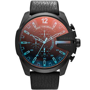 Diesel Mega Chief Black Ip Leather Men's Watch