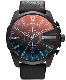Diesel Men's Chronograph Mega Chief Iridescent Crystal Black Leather Strap Watch 51mm DZ4323