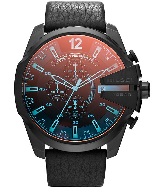 Men's Chronograph Mega Chief Iridescent Crystal Black Leather Strap Watch 51mm DZ4323