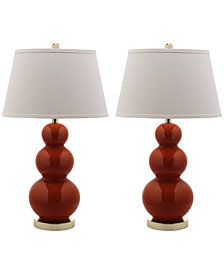 Safavieh Set of 2 Pamela Triple Gourd Ceramic Table Lamps