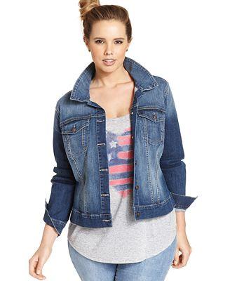 Jessica Simpson Trendy Plus Size Pixie Jefford Wash Denim Jacket