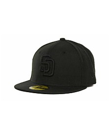 New Era Kids' San Diego Padres MLB Black on Black Fashion 59FIFTY Cap