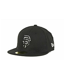 Kids' San Francisco Giants MLB Black and White Fashion 59FIFTY Cap