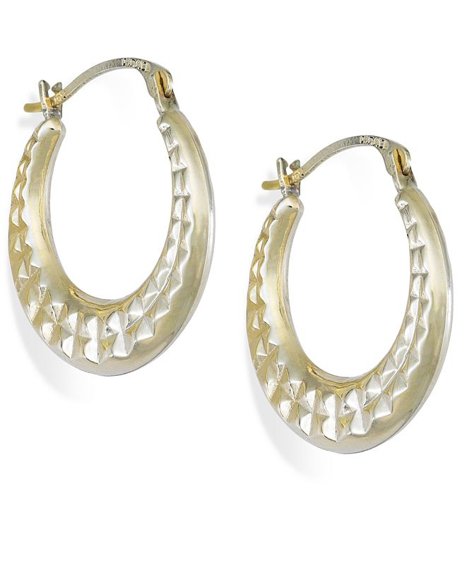 Macy's Diamond-Cut Hoop Earrings in 10k Gold, 15mm