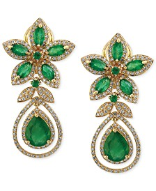 Brasilica by EFFY® Emerald (5-1/4 ct. t.w.) and Diamond (1-1/4 ct. t.w.) Teardrop Earrings in 14k Gold, Created for Macy's