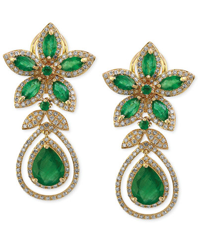Brasilica by EFFY® Emerald (5-1/4 ct. t.w.) and Diamond (1-1/4 ct. t.w.) Teardrop Earrings in 14k Gold, Created for Macy's