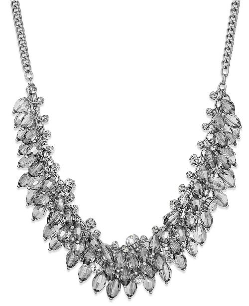 ABS by Allen Schwartz Silver-Tone Clear Bead Cluster Frontal Necklace