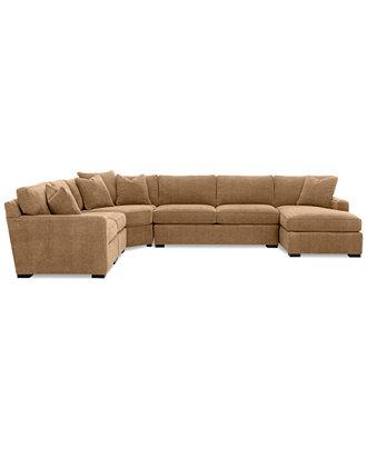 Radley 5 piece fabric chaise sectional sofa custom colors for Radley sectional sofa macy s