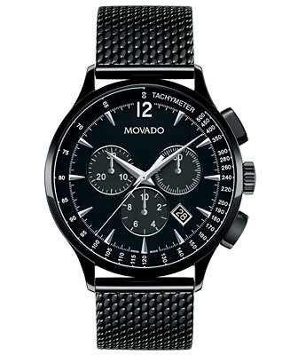 Movado Men's Chronograph Circa Black PVD-Finished Stainless