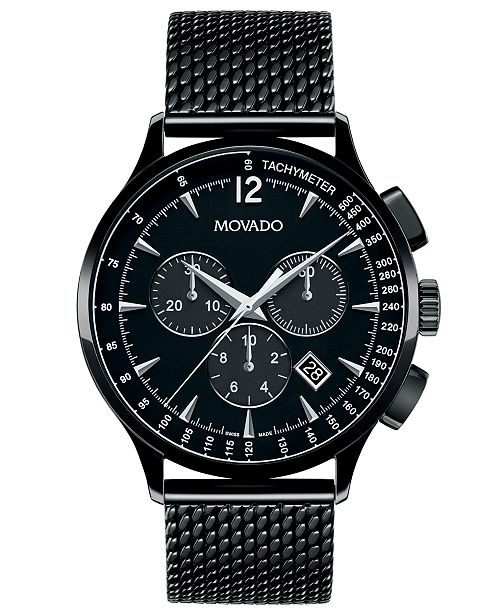 887374bf2e09 ... Movado Men s Chronograph Circa Black PVD-Finished Stainless Steel Mesh  Bracelet Watch 42mm 0606804 ...