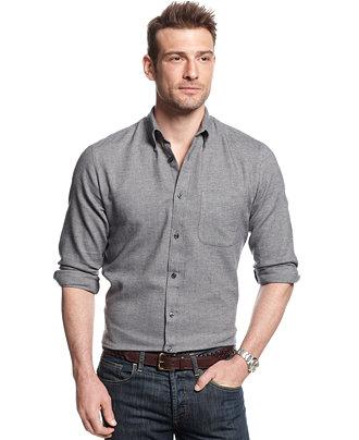 John ashford big and tall long sleeve solid herringbone for Mens 4xlt flannel shirts