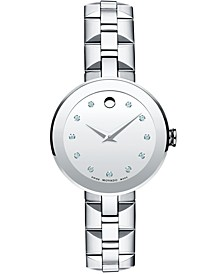 Women's Swiss Sapphire Diamond Accent Stainless Steel Bracelet Watch 28mm 0606814