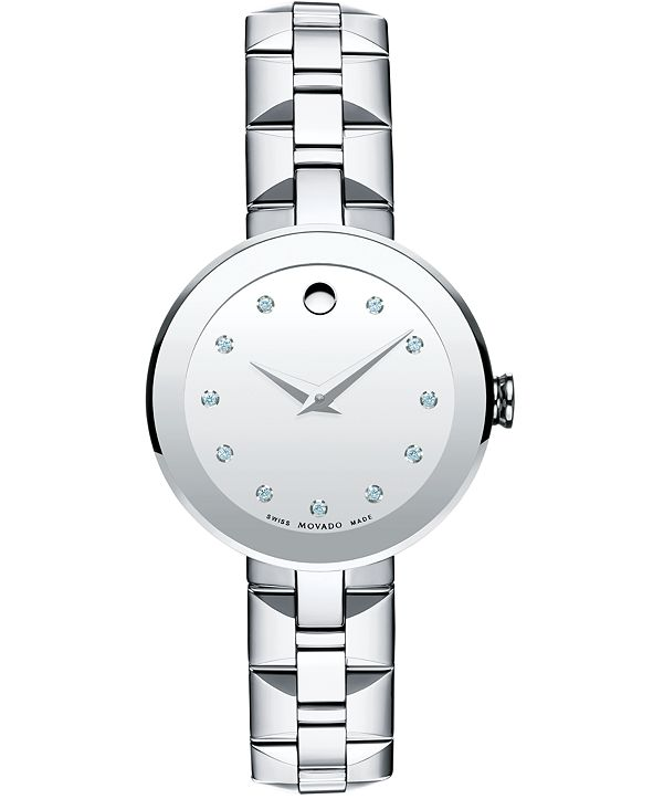 Movado Women's Swiss Sapphire Diamond Accent Stainless Steel Bracelet Watch 28mm 0606814