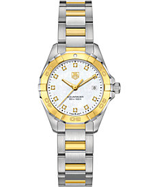 TAG Heuer Women's Swiss Aquaracer Diamond Accent 18k Gold-Capped Stainless Steel Bracelet Watch 27mm WAY1451.BD0922